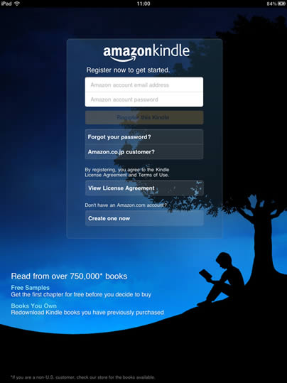 Registering your iPad Kindle app with your Amazon account