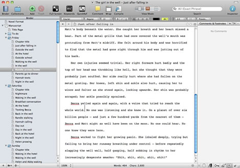 Editing a document in Scrivener