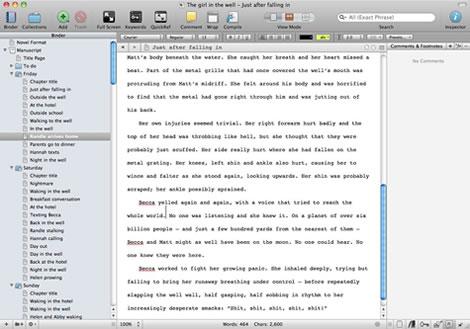Editing a document in Scrivener