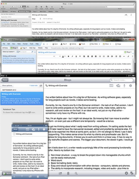 Editing the same document on different platforms, with Evernote